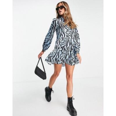 ナーナー NaaNaa レディース ワンピース ミニ丈 ワンピース・ドレス mini swing dress in blue mixed animal ブルー/ブラック