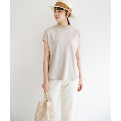 【ハコ】 パッと着てさっとかわいくなれちゃう!フリルリブモックネックTシャツ レディース ライト グレー 2 haco!