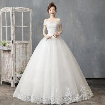 激安 韓国ファッション ウエディングドレス 二次会 ロングドレス ホワイト白 結婚式 パーティードレス ステージドレス 着痩せ 撮影