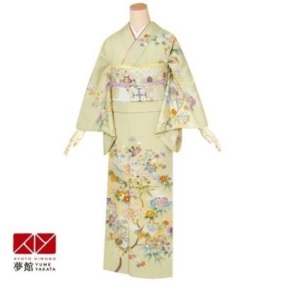 袷 訪問着 レンタル 結婚式 入学式 卒業式 若菜色 椿と桐 対応身長155〜159cm H461