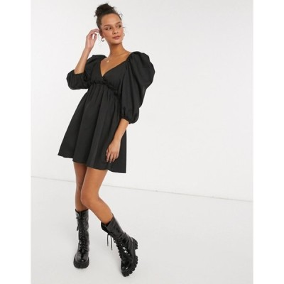 インザスタイル レディース ワンピース トップス In The Style x Lorna Luxe mini smock dress with exaggerated sleeves in black