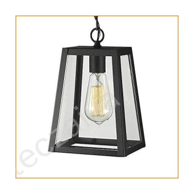 Emliviar Exterior Hanging Lamp, 1-Light Outdoor Pendant Lantern in Black Finish with Clear Glass, 1803AW2-H【並行輸入品】