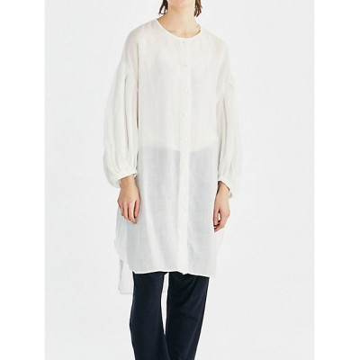 <mizuiro ind(Women)/ミズイロインド> ノーカラーボリュームスリーブシャツ オフホワイト(11)【三越伊勢丹/公式】