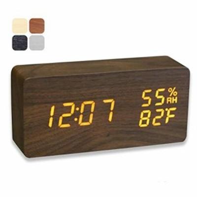 『全国送料無料』置き時計 LED目覚まし時計 多機能付きデジタル アラーム カレンダー付き温度.湿度表示音声感知明るさ調節 USB給電 日本