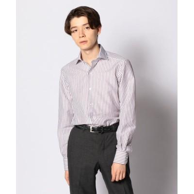 【トゥモローランド】 コットンリネンブロード ワイドカラー ドレスシャツ NEW WIDE−5 メンズ 46ブラウン系 37 TOMORROWLAND
