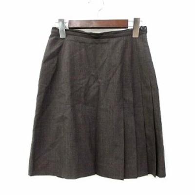 【中古】ヨークランド YORKLAND スカート 9 M 茶 ブラウン ウール サイドジップ 無地 シンプル レディース