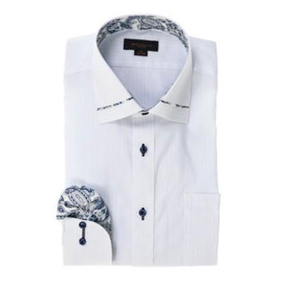 形態安定スリムフィット 衿切替ワイドカラー長袖ビジネスドレスシャツ