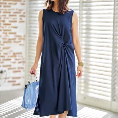 ベルーナ 綿100%機能付ツイストデザインワンピース ブルー L レディース