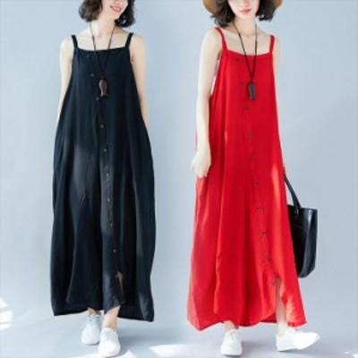 オールインワン サロペット レディース 韓国 ファッション ロング丈 マキシ丈 無地 ゆったり 体型カバー 大きいサイズ おしゃれ トレンド