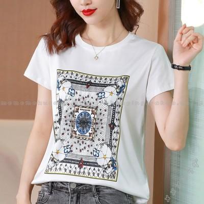 プリント Tシャツ レディース 夏物 半袖 おしゃれTシャツ 韓国風 トップス オシャレ カジュアル 大きいサイズ 上品 きれいめ 大人 通勤 20代 30代