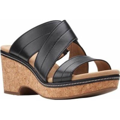 クラークス レディース サンダル シューズ Women's Clarks Giselle Tide Wedge Slide Black Leather