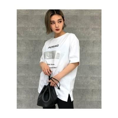 ANAP(アナップ)箔ボックスプリントTシャツ