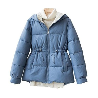 レディース 中綿ジャケット ダウンコート ハーフ丈 Aライン 秋冬 無地 アウター 大きいサイズ 暖かい ゆったり レディースファッション(ブルー M