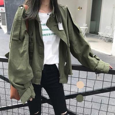 レディース ジャケット コート 春秋 長袖 40代 30代 50代 オシャレ ショート カジュアルジャケット 着痩せ 韓国風 通勤 立ち襟 ゆったり きれいめ 2色