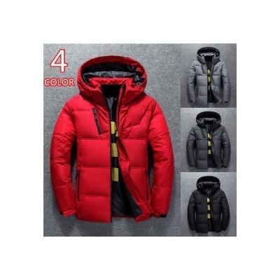 ダウンジャケット メンズ 中綿ジャケット アウター ブルゾン 防寒 厚手 暖かい 防風 軽量 ハイネック フード付き スリム 無地 コート 冬