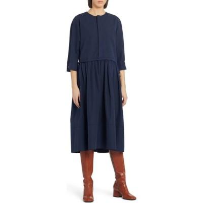 マルニ MARNI レディース ワンピース ミドル丈 ワンピース・ドレス Layered Pleated Cotton Midi Dress Blue Black