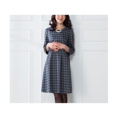 【大きいサイズ】 7分袖チェックワンピース ワンピース, plus size dress