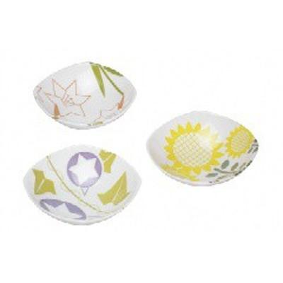 カネセ KANESE フルール四方型 3.3小付鉢(3柄組) YT-003 キッチン用品