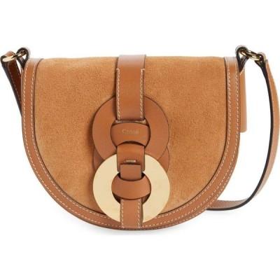 クロエ CHLOE レディース ショルダーバッグ バッグ Darryl Suede & Leather Crossbody Saddle Bag Arizona Brown