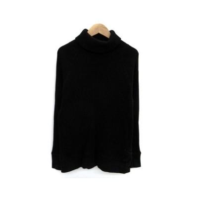 【中古】ヘルスニット healthknit Tシャツ カットソー タートルネック 長袖 ワッフル XS 黒 ブラック /HO11 メンズ 【ベクトル 古着】