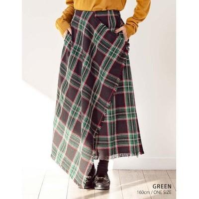 【グローウィングリッチ】 [ボトムス スカート]巻きストール風チェック柄スカート[190942] レディース グリーン ワンサイズ GROWINGRICH
