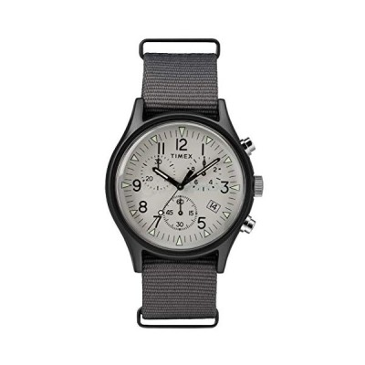Timex TW2T10900 メンズ クロノグラフ クォーツウォッチ ナイロンストラップ付き