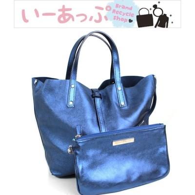 ティファニー トートバッグ ハンドバッグ ブルー 美品 ラメ m806
