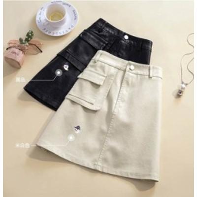 【月初SALE!送料無料】予約商品 大きいサイズのレディース  ポケットデザイン フェイクレザー 台形スカート ボトムス ビッグサイズ オー