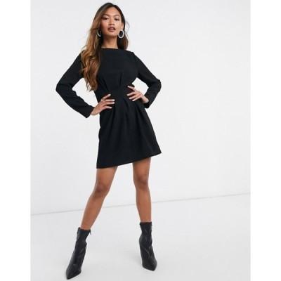 エイソス レディース ワンピース トップス ASOS DESIGN nipped in waist long sleeve mini dress in black