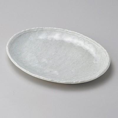 業務用食器 オフケ白ライン6.0小判皿 17.8×13.4×2�