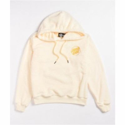 サンタクルーズ SANTA CRUZ SKATE レディース パーカー トップス Santa Cruz Opus Dot Cream Sherpa Hoodie Light/pastel yellow