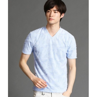 (NICOLE CLUB FOR MEN/ニコルクラブフォーメン)バックカットジャカードVネックTシャツ/メンズ 64サックス