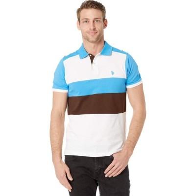 ユーエスポロアッスン U.S. POLO ASSN. メンズ ポロシャツ スリム トップス Slim Fit Chest Stripe Color Block Polo Shirt Coast Azure