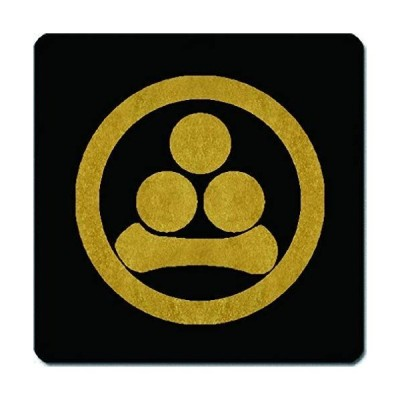 家紋 捺印マット 丸に三つ星に一の字紋 11cm x 11cm KN11-0568
