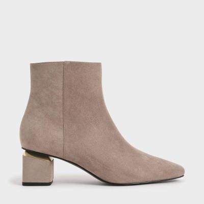 ブロックヒール アンクルブーツ / Block Heel Ankle Boots (Taupe)