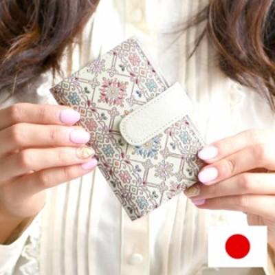 カードケース レディース 革 本革 大容量 日本製 手描き 花柄 友禅文庫