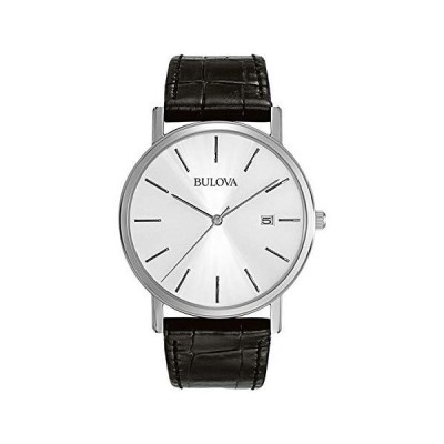 Bulova Classic Quartz Mens Watch, Stainless Steel with Black Leather Strap, Silver-Tone (Model: 96B104)送料無料