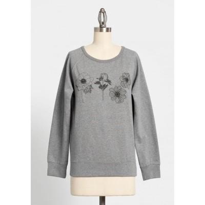 レディース スウェット・トレーナー トップス always room for blooms graphic sweatshirt grey