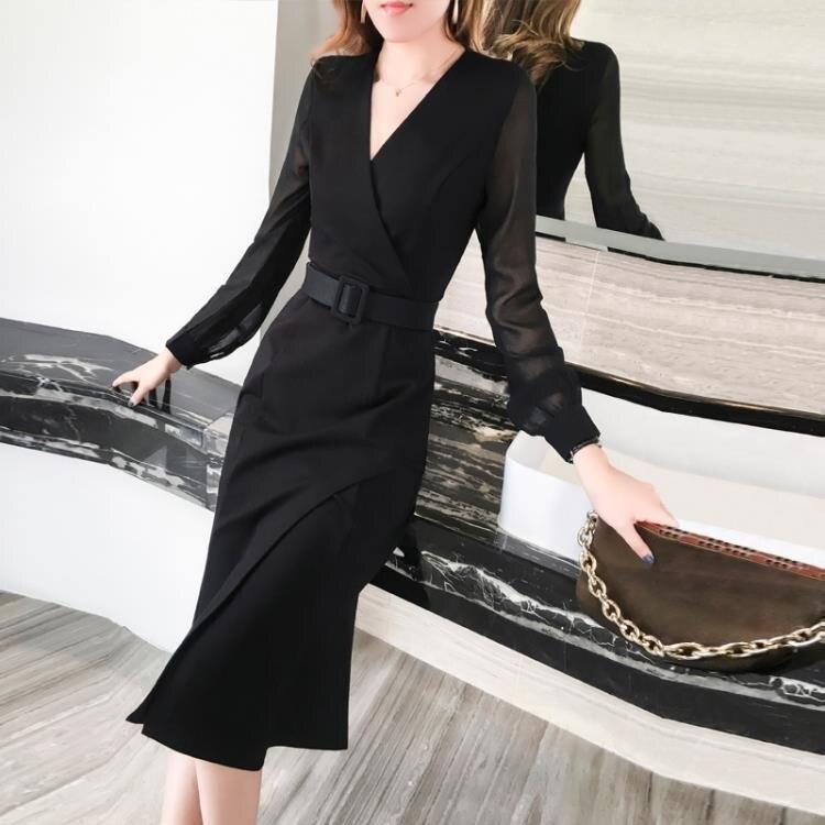 春秋女神范魚尾洋裝2020新款修身中長款氣質顯瘦小禮服平時可穿 快速出貨