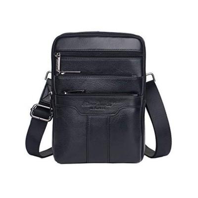 男性旅行ビジネススモールクロスボディパック財布電話ポーチ財布バッグのためのヴィンテージレザーショルダーメッセンジャーバッグ (ブラック)