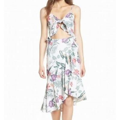 Wayf ウェイフ ファッション ドレス WAYF NEW White Floral Mahari Cutout Womens Large L Plus A-Line Dress
