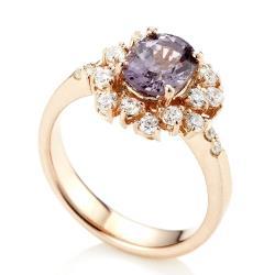 Dolly 天然薰衣草紫尖晶石 銀飾戒指