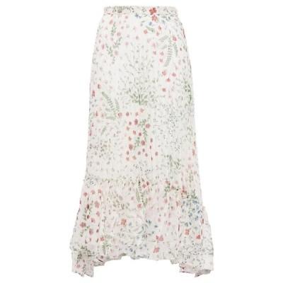 ジョア JOIE レディース ひざ丈スカート スカート noora pleated fil coupe floral-print crepe midi skirt Cream