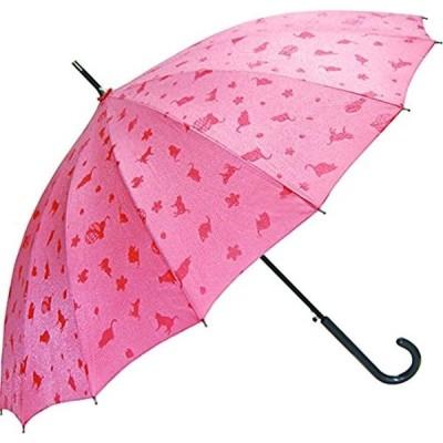 傘 55cm 雨に濡れると模様が浮き出る 16本骨撥水和傘 わにゃんこ ピンク JK-46-03(ピンク)