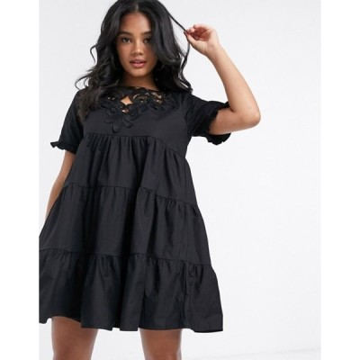ミスガイデッド レディース ワンピース トップス Missguided poplin smock dress with crochet detail in black