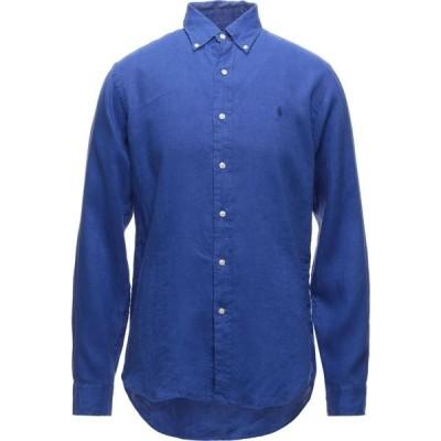 ラルフ ローレン POLO RALPH LAUREN メンズ シャツ スリム トップス slim fit linen shirt linen shirt Bright blue