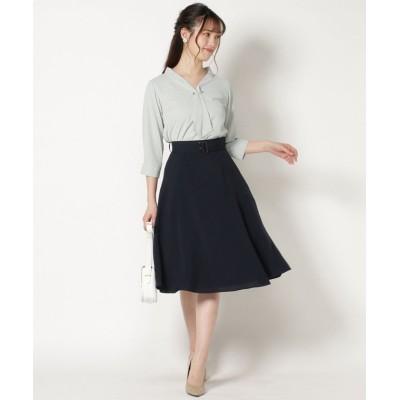 【スウィングル】 田中みな実さん着用ベルト付き切り替えフレアースカート レディース ネイビー S Swingle