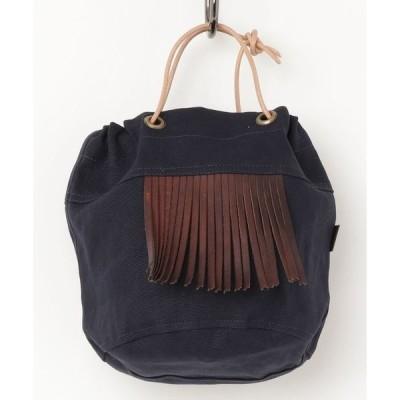 トートバッグ バッグ 【BrownBrown】ブラウンブラウン/フリンジ巾着バッグ