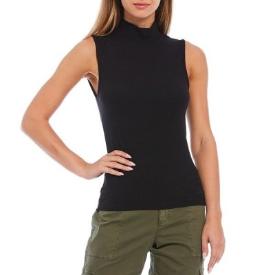 サンクチュアリー レディース Tシャツ トップス Essential Mock Neck Sleeveless Top Black