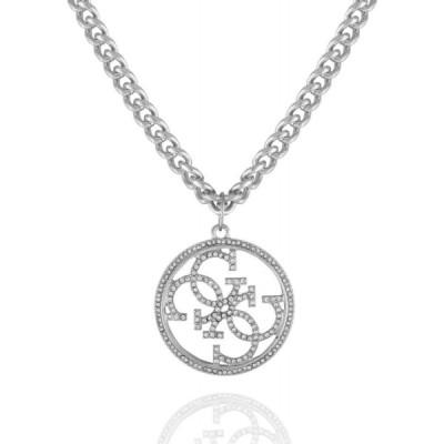 ゲス GUESS ユニセックス ネックレス ジュエリー・アクセサリー Silver-tone And Crystal Quatro G Pendant Necklace Silver